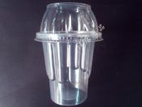 free shipping (100 pieces/lot) , Disposable ice cream sundae tea yogurt  belt cup lid 100 set