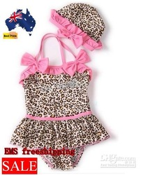 EMS freeshipping,summer BABY GIRL pink SWIMWEAR BIKINI BATHING SUIT CHILDREN cute Leopard swimwear(China (Mainland))