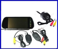"2.4G Wireless Car Rear View Back up Camera +7"" Mirror monitor+parking assistance Wireless Rearview kits parking sensor"