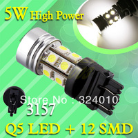 2pcs  3156 3157 High Power LED + 12 SMD 5050 Pure White Stop Tail Q5 5W Car Light Lamp Bulb 12V