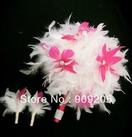 FREE SHIPPING NICE !!SWEET DAY Pink white feather  Bridal bouquet wedding flower