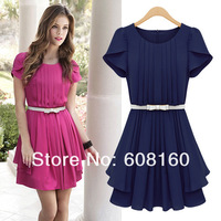Hotting O-neck Slim Fit Petal Sleeve Solid Color Rose red/Navy Blue Chiffon Pleated Evening Dresses Plus Size