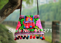 2013 New Ethnic Women's Double Side Embroidered Messenger Shoulder Bag Sling Bags Handbags Red Plush Ball Decor China Chic Gift