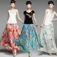 B Hot Sale New Arrival Print Chiffon Skirt Long Women Sheer Skirts 2014 5Colors