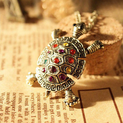 Min.order is 10USD,Free shipping Retro Alloy And Colorful Rhinestone With Cute Little Turtle Long Sweater Chain Pendant Necklace(China (Mainland))