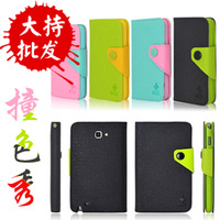 Cute Fashion Mix-Color PU Leather Wallet Case For Samsung Galaxy Note N7000 i9220 Free Shipping Multi-Color