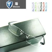 Mirror rimless eyeglasses frame glasses frame plastic titanium deformation eyes box