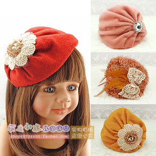 Autumn and winter child small fedoras hair bands female child beret hair bands yarn feather cap hair pin hair accessory(China (Mainland))