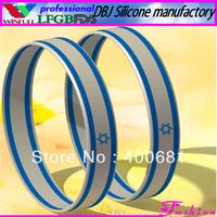 Sample Order Free Shipping 2013 Israel National Silicone Wristband/Bracelet(FDA, LFGB)
