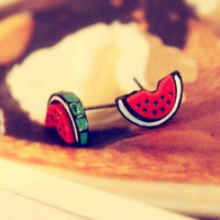 Min.order is $10 (mix order)Promotion sweetness cartoon small watermelon earrings free shipping free shipping!