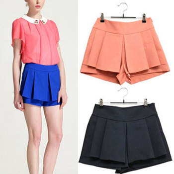 2013 free shipping Pleated Culottes women's pantskirt lady's pure chiffon shorts pant Suit Pants 3 colors S-L for choose