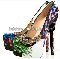 Colorful ornament women high heel platform pumps sexy metal fashion shoes
