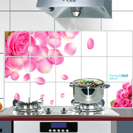 Home decoration wall stickers kitchen tile oil transparent aluminum foil high temperature resistant 8(China (Mainland))