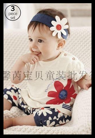 Free shipping ( 5Pcs/set) Girl's flowers short-sleeved T shir + headband + pants 3 Set children suit Baby's Tracksuit Whoelsale(China (Mainland))