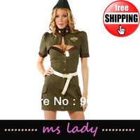 Ladies Flight Stewardess Outfit Fancy Halloween Costume Cosplay Dresses Sexy Lingerie Free Shipping HK Airmail