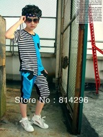Free shipping  The new 2013 male big han edition sports suit children summer short sleeve dress tide