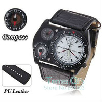 Military Army Dual Time Zones Movements Quartz Sports Mens Watch PU Leather SG Post Free Ship Oulm Christmas Gift