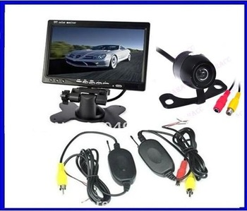 "Car Rear View Kit 7"" LCD Monitor Mirror + Wireless Reversing Camera parking sensor car camera"