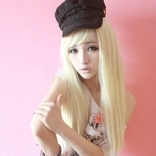 Cartoon cos wig beige long straight hair of non-mainstream fluffy straight hair wig masquerade party(China (Mainland))