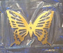 Stainless steel butterfly sculpture butterfly set wall decoration single gold mirror light(China (Mainland))