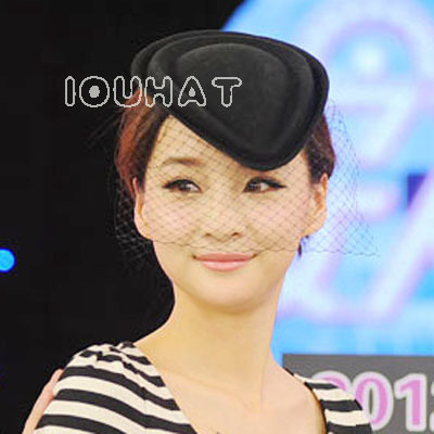 2013 Hat fashion female small fedoras summer woolen hair accessory veil beret(China (Mainland))
