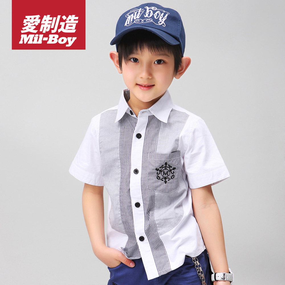 gift -Free Shipping- Green box children's clothing male child vintage short-sleeve shirt 2013 child summer shirt(China (Mainland))