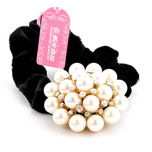 Headband hair rope tenfolds NEOGLORY accessories gold 3 pearl flower headband hair accessory hair accessory rubber band(China (Mainland))