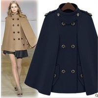 New 2014 women's fashion wool poncho coat cloak overcoat fashion cape double breasted woolen outerwear Freeshiping
