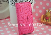 Free Shipping Flip Case Cartoon Skin  Leather Screen Protector Cover For IPhone 5