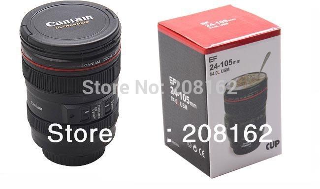 Black Coffee Creative Collectors Travel Camera Lens Mug Cup Caniam logo Drop Shipping(China (Mainland))