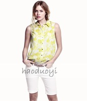 Womens sleeveless chiffon blouse with circle hem and split decoration in sides for freeshipping and wholesale