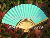 (1000 pcs/lot) Handmade Plain Blue Color Bamboo with Paper Bridal Wedding Fans