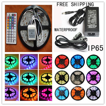 Best Price !!! CE&RoHs Flexible Led Strip Light Stripe RGB SMD 5050 300Leds 5m Waterproof + 44Keys IR Remote Controller+5A power