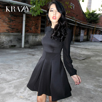 Krazy hepburn elegant vintage peter pan collar chiffon patchwork slim waist long-sleeve dress 561