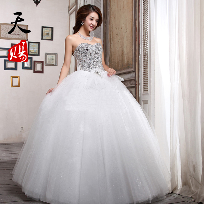2013new arrival luxury princess diamond wedding dress,tube top bandage the bride wedding formal dress,tea length wedding dresses(China (Mainland))