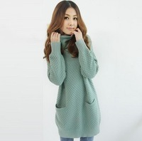 Winter 2012 women's turtleneck long loose design pineapple sweater basic sweater outerwear
