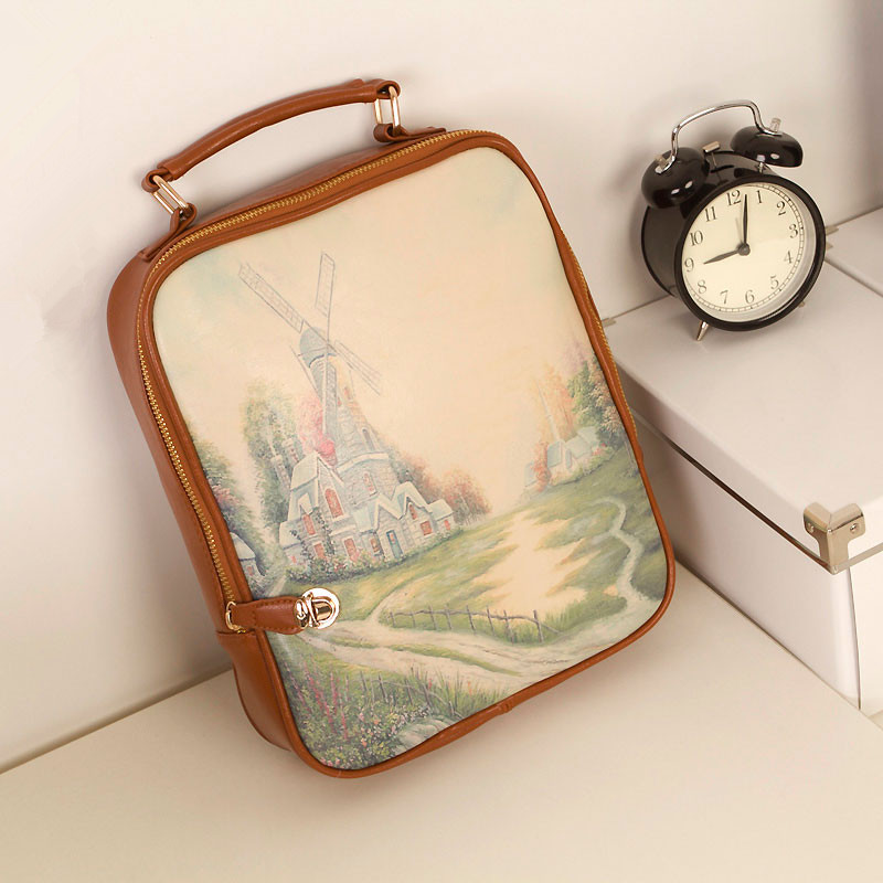 2013 spring vintage preppy style multifunctional backpack school bag handbag(China (Mainland))