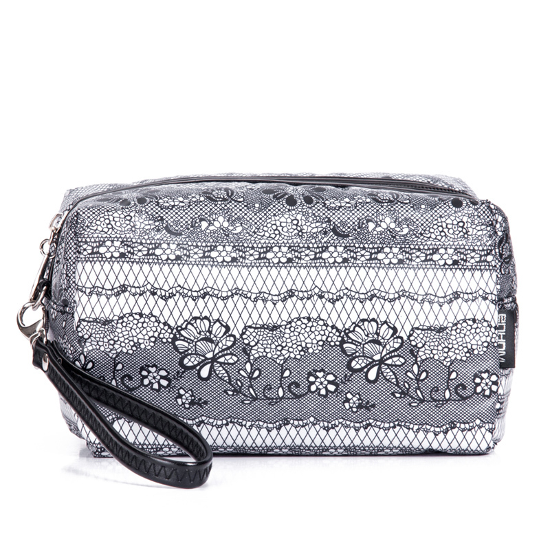 Fog flower lace down large capacity single zipper women's clutch cosmetic bag travel storage bag(China (Mainland))
