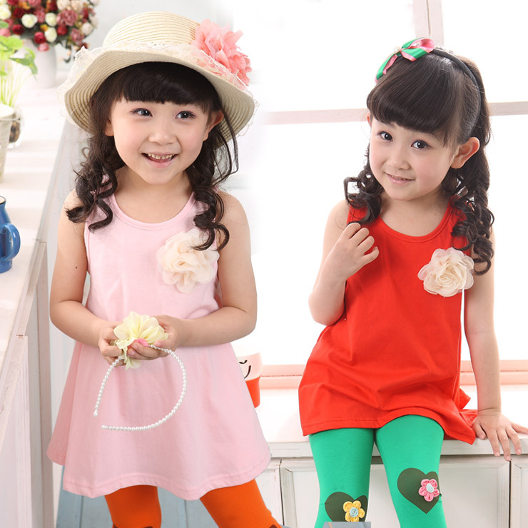 The new summer 2013 sweet Japanese flower girls baby vest skirt on the dress/dress(China (Mainland))