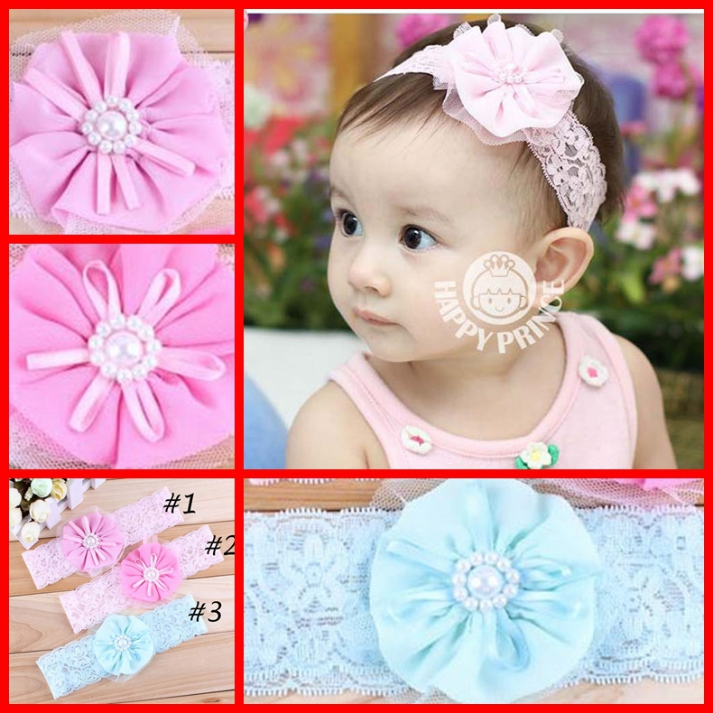 Tulle Lace Baby Girls Flower Headbands With Pearl Center Kid Children Headdress Infant Hairband Accessory 50 PCS Free Shipping(China (Mainland))