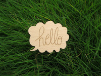hello word cloud design fashion wood brooch pin