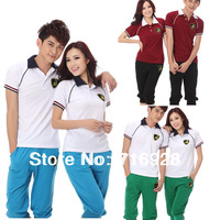 New Free Shipping 2013 Spring Summer Casual Fashion Short Sleeve Tracksuits For Men Women Lovers Black Blue Green L XL XXL