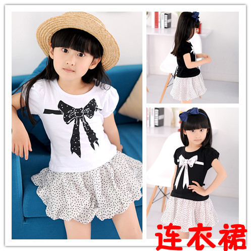 2013 summer children's clothing wholesale cotton knot heart point even the garment skirt of the girls(China (Mainland))