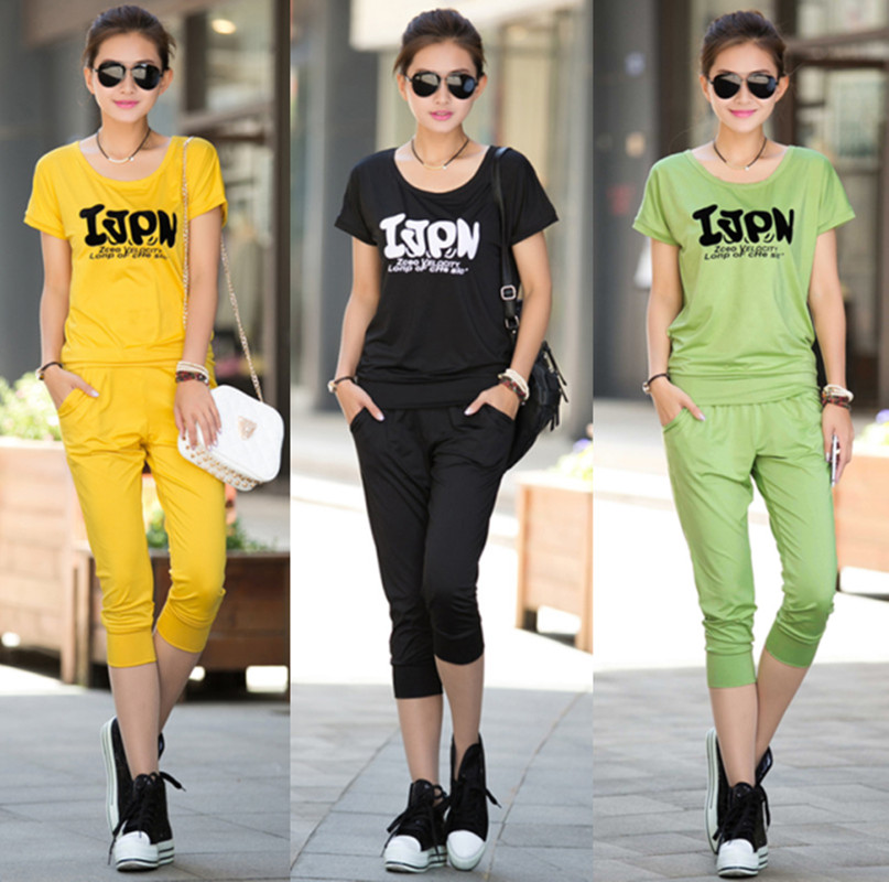 Summer mm 2013 casual sports set fashion plus size women twinset t-shirt set(China (Mainland))