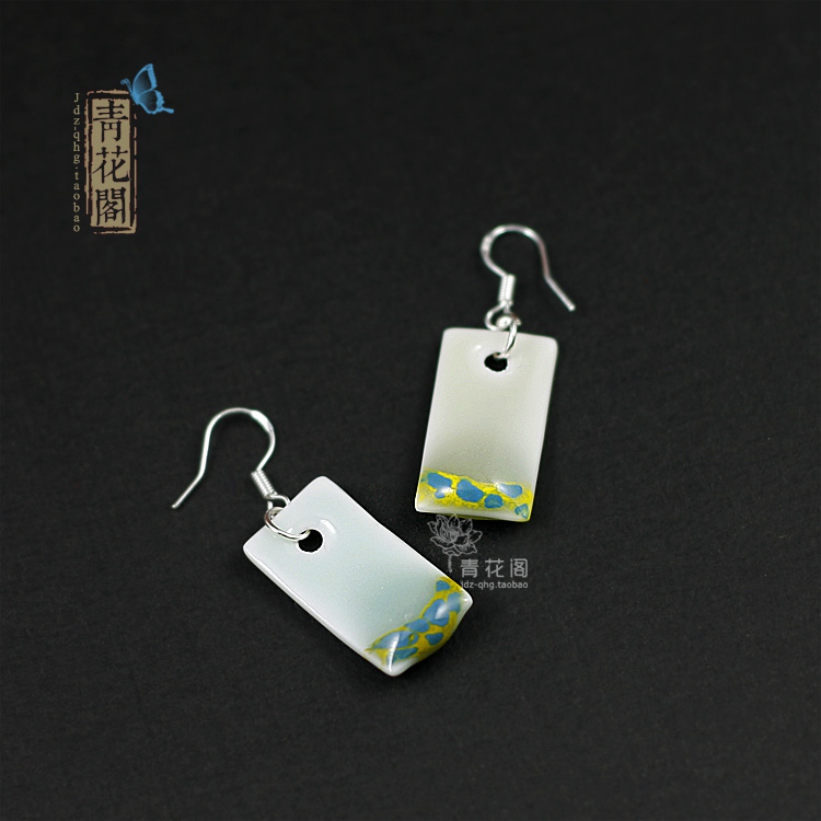 Blue and white ceramic jewelry bohemia 925 pure silver earrings female stud earring accessories(China (Mainland))