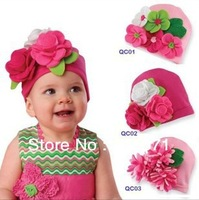 Free Shipping (20pcs/lot) Infant Big Flower Hats Cotton Knitted Caps Baby Beanies Lovely Style Earflaps Comfortable Caps CROCHET