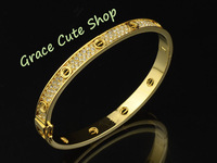 Nice Bangles Fashion Brand Jewelry Gold Classic Model With Crystal 5A Top Quality Package (Cards,Dust Bag,Original Box) #CT150
