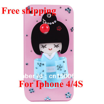 Hot sale! New Fashion 3D Japanese Dolls Hard Back Case with Mirror for Apple iPhone 4/4S/4G Free shipping