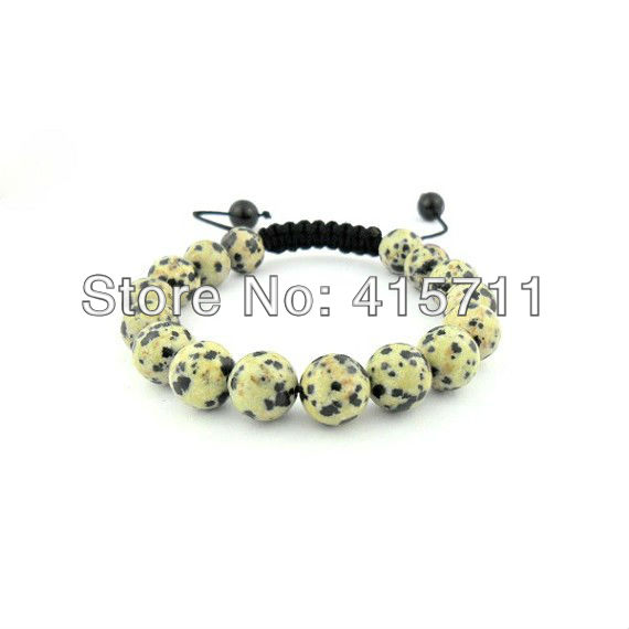 10mm Dalmatian Jasper Beads Shamballa Style Bracelet(China (Mainland))