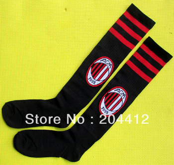 AC Milan FC Soccer Knee High Long Socks Black Adult Average Size #07